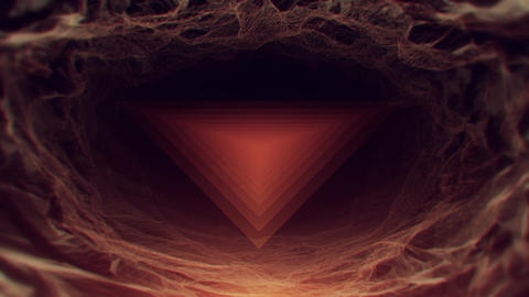 Flickering Triangles Drifting In Abstract Cave stock footage