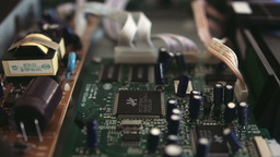 Printed Circuit Board And Transistors Close Up HD stock footage