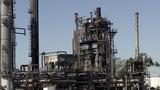 Ageing Refining Tower At Oil Refinery In Californi stock footage