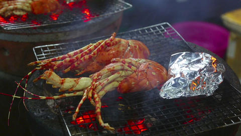 Grilled lobsters Footage