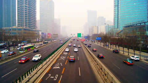 Beijing City Traffic Timelapse 01 stock footage