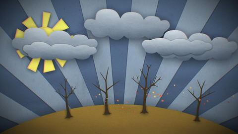 Change Of Seasons. Cartoon Style. Looped Animation stock footage
