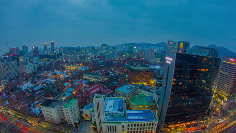Seoul City 278 City Lights And Traffic stock footage