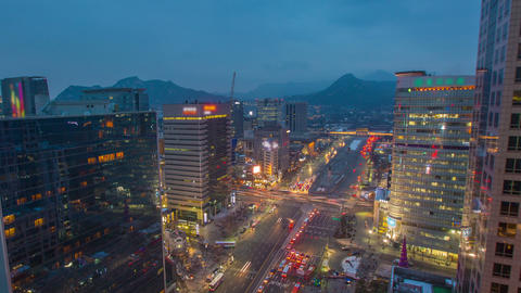 Seoul City 282 Gwanghwamun Traffic and Architectur Footage