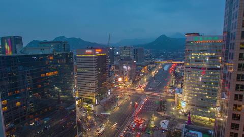 Seoul City 282 Gwanghwamun Traffic and Architectur Footage