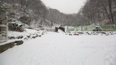Snowy Korean Mountains Glide Cam 1 Footage