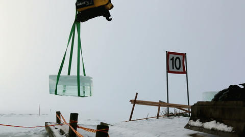 Giant ice cube moving Footage