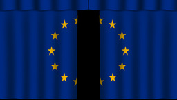 EU Flag - Paper Curtain stock footage