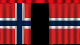 Norway Flag - Paper Curtain stock footage
