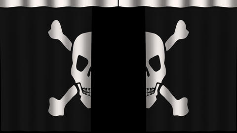 Flag Curtain - Jolly Roger stock footage