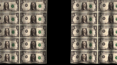 Money Curtain - 20 x 1 Dollar Bills Animation