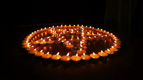 Candles Pentagram Dolly stock footage