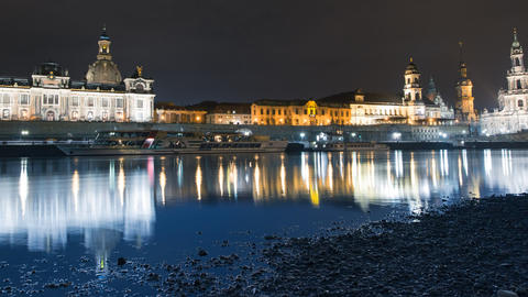 Old Town Dresden At Night Time Lapse Pan 11300 stock footage