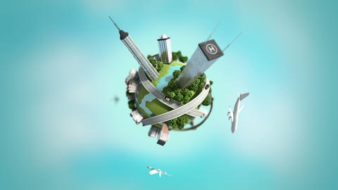 3d generated mini world, loopable Stock Video Footage
