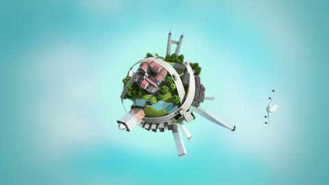 3d Generated Mini World, Loopable stock footage