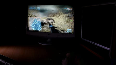 War Game Playing On Computer stock footage