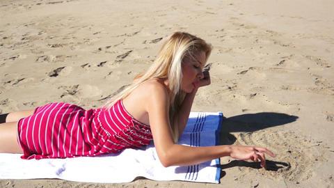 Girl on Beach Drawing Heart Footage