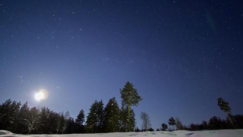 Night winter landscape. Time Lapse Footage