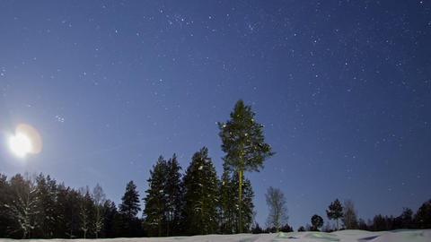 In the wake of the stars. Winter landscape. Time L Footage