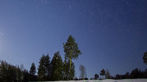 Panorama of night landscape. Winter. Time Lapse Footage