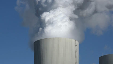 Coal Power Station Cooling Tower Pollution 11303 stock footage