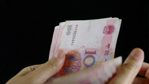 Counting Money RMB stock footage