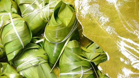 Rotation of rice dumplings of glutinous rice,dumplings leaf Animation