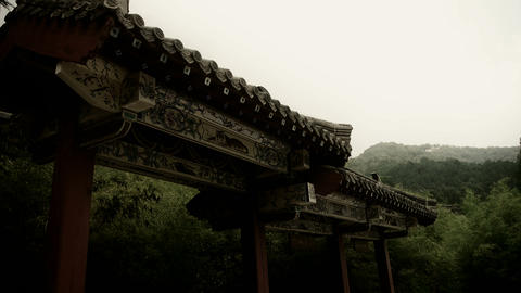China ancient architecture in bamboo forest,carved beams & painted buildings Animation
