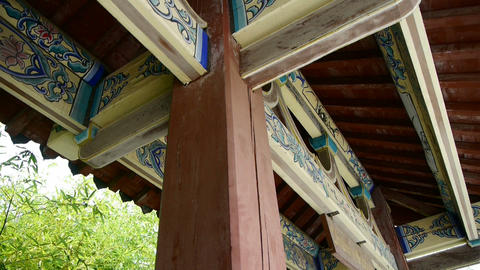 looking up roof eaves,China ancient architecture in bamboo forest,carved beams & Animation