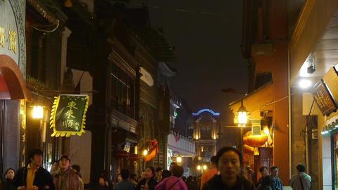 crowd walk in China Beijing night alley street market CG動画