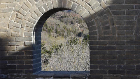 view Great wall from battlements lookouts,China ancient defense engineering Animation