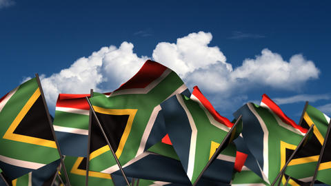 Waving South African Flags Animation