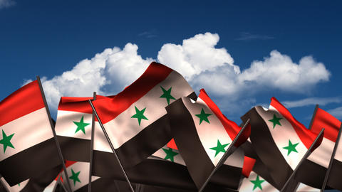 Waving Syrian Flags Animation
