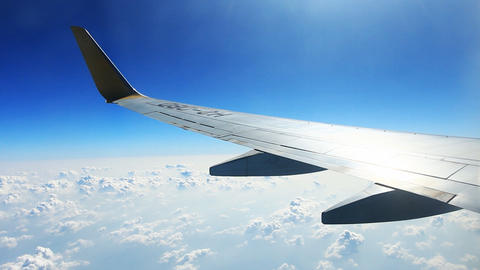 View Through An Airplane Window stock footage