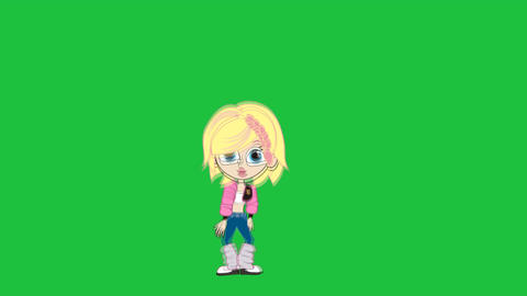 Cartoon Girl Locking Dance (Ver #2): Looping Animation