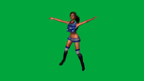 Girl Pop Style Dancing: Green Screen+ Loop Animation