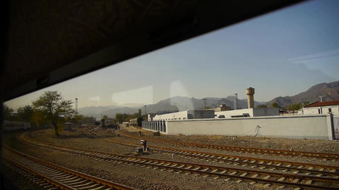 factory chimney & mountain in rural countryside,Speeding train travel,scener Animation