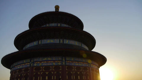 Temple of Heaven in Beijing.China's royal ancient architecture in sunset shining Animation