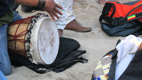 Man Playing Djembe Drum On Venice Beach Footage