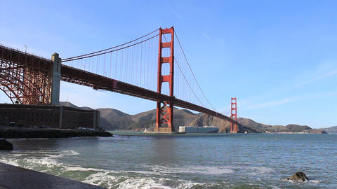 Ship Passing Under The Golden Gate Bridge stock footage