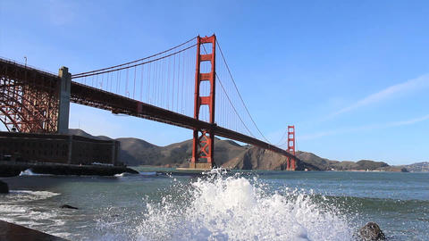 Waves Splashing Under The Golden Gate Bridge Footage