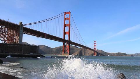 Waves Splashing Under The Golden Gate Bridge Footage