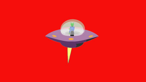 Flying UFO on Red Screen: Looping Animation