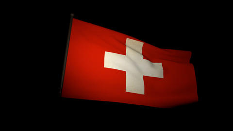 Flag Switzerland 01 stock footage