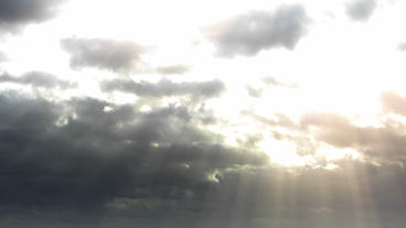 God Rays Clouds With Sunbeams Over Countryside Tim stock footage