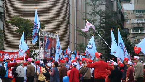 political rally in taipei with many people Animation