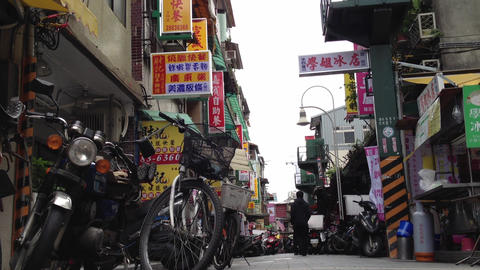 Extreme Low Angle Shot From Lane In Shilin 2 stock footage