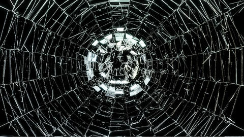 4K Cracked and Shattered glass with slow motion. A Animation