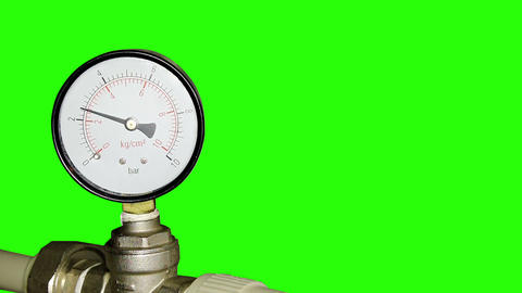 Water pressure meter installed with green screen Footage