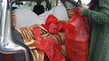 Fresh Bread In Trunk Of Car In Central Asia stock footage